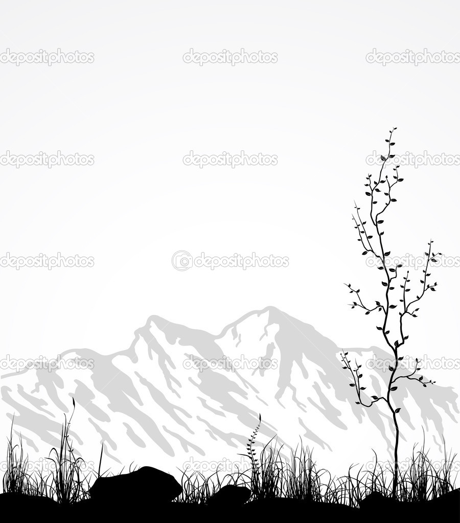 Landscape with mountains, glass and tree.