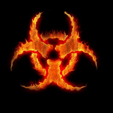 Burning biohazard sign symbol on the black