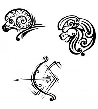 Leo, aries and sagittarius symbols