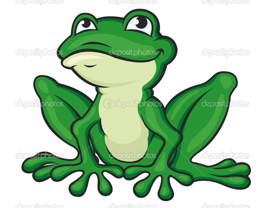 Rana verde cartone animato — vettoriali stock buchan