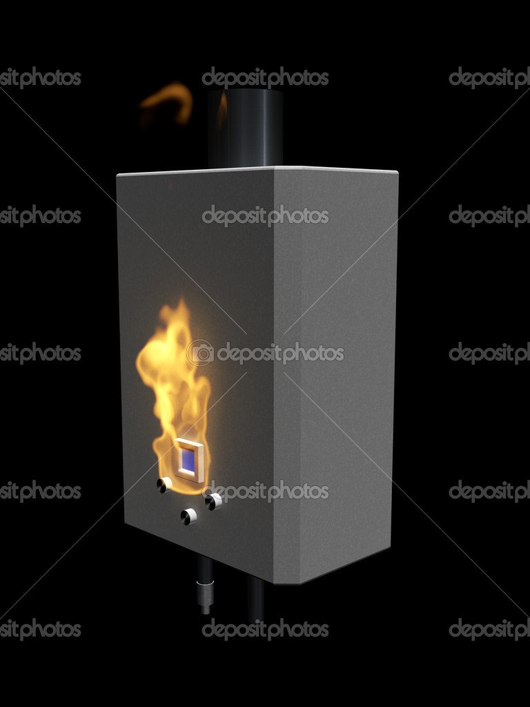 caldera de gas con llama sobre un fondo negro — Foto de stock ...