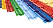 Fotografie barevné kovové střešní taška na bílém pozadí