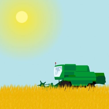 Combine in a wheat field