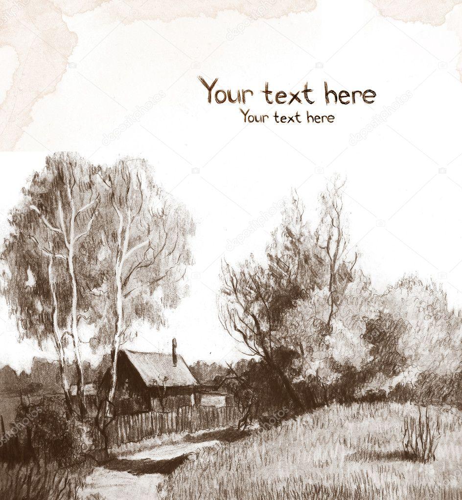 Sketch of rural landscape