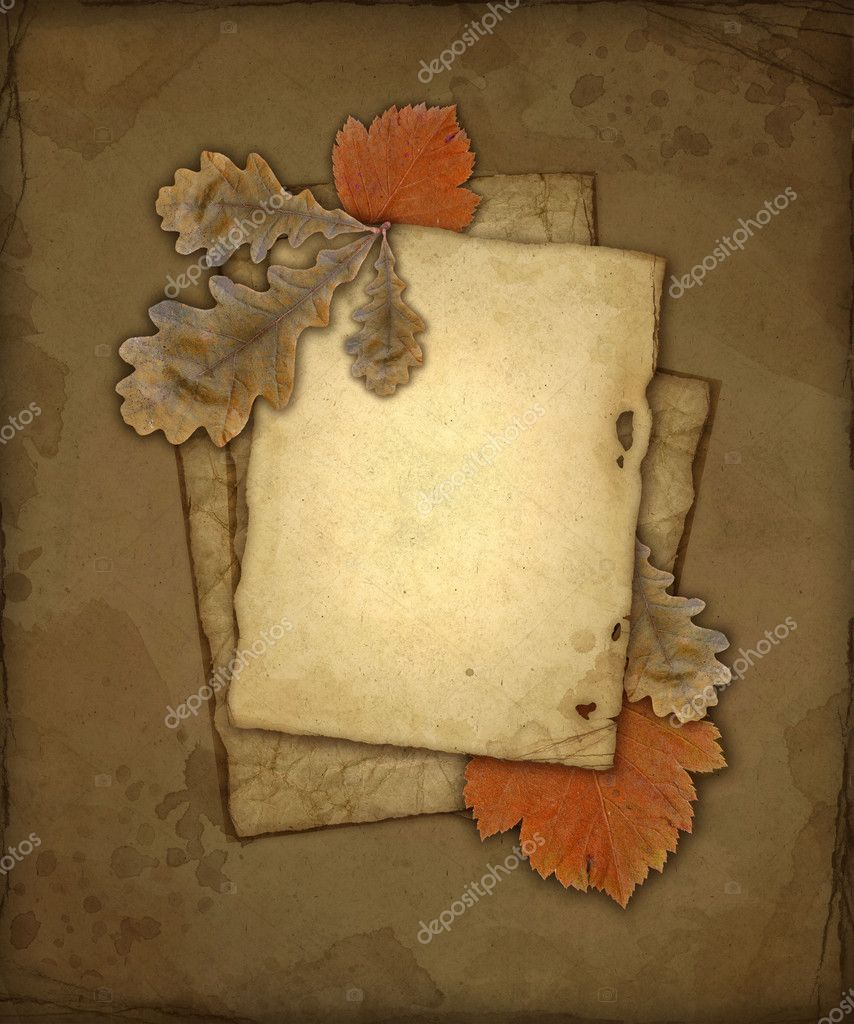 Old paper with leaves, autumn background