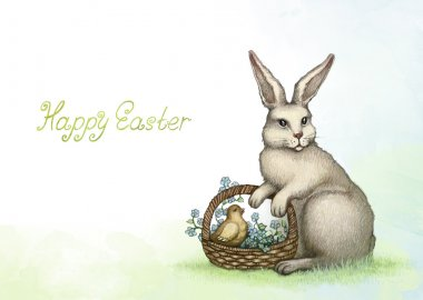 Old fashioned easter greeting card