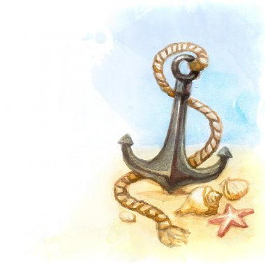 Watercolor illustration of anchor and shell
