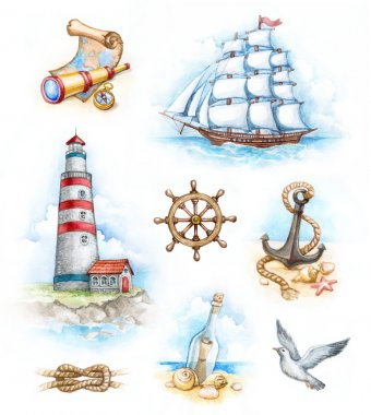 Set of nautical watercolor illustrations