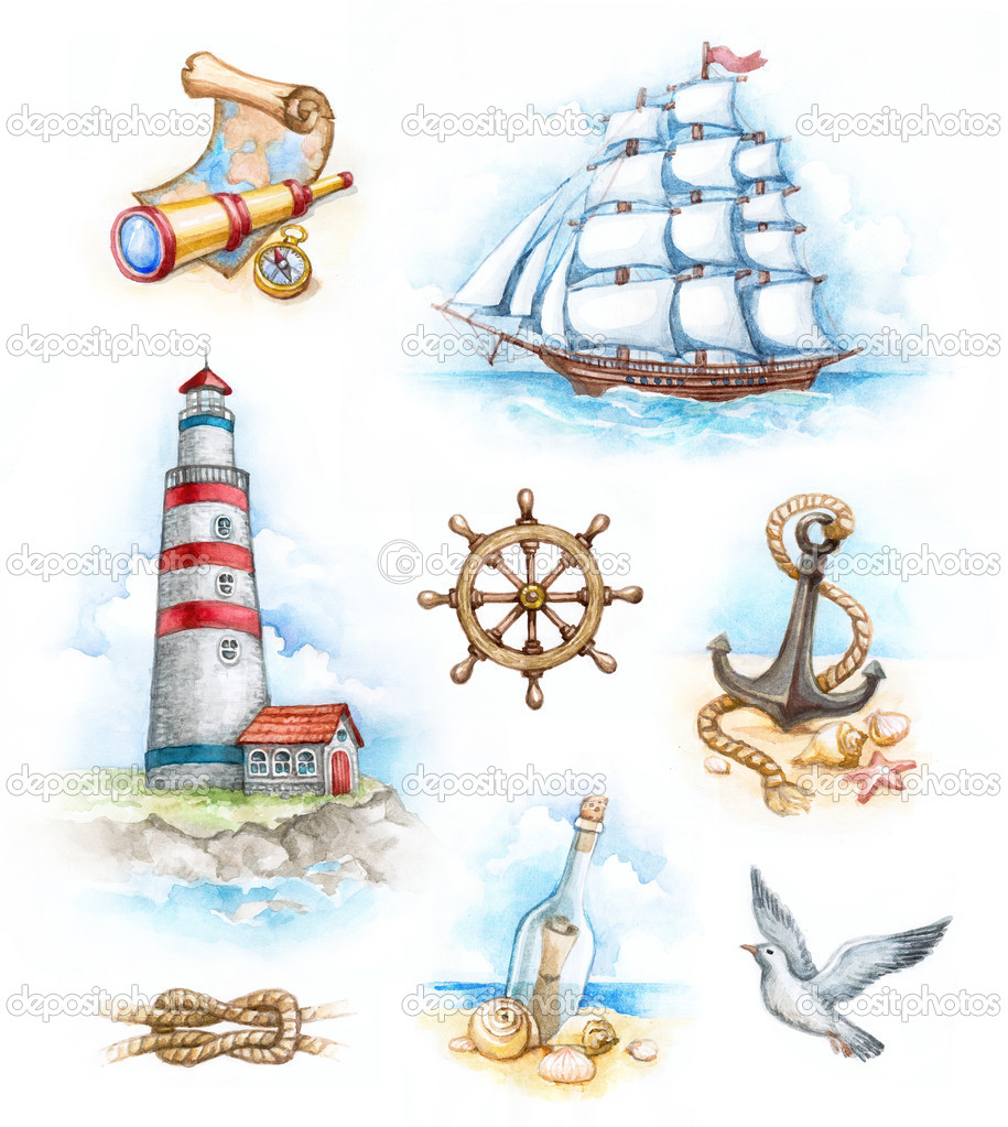 Set of nautical watercolor illustrations