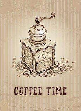Vintage illustration of coffee grinder