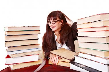 Girl with stack book .
