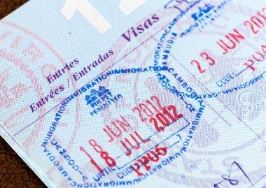 Visa stamps in US passport Thailand Cambodia
