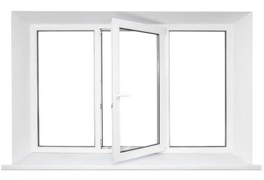 White plastic triple door window isolated on white background. Opened door