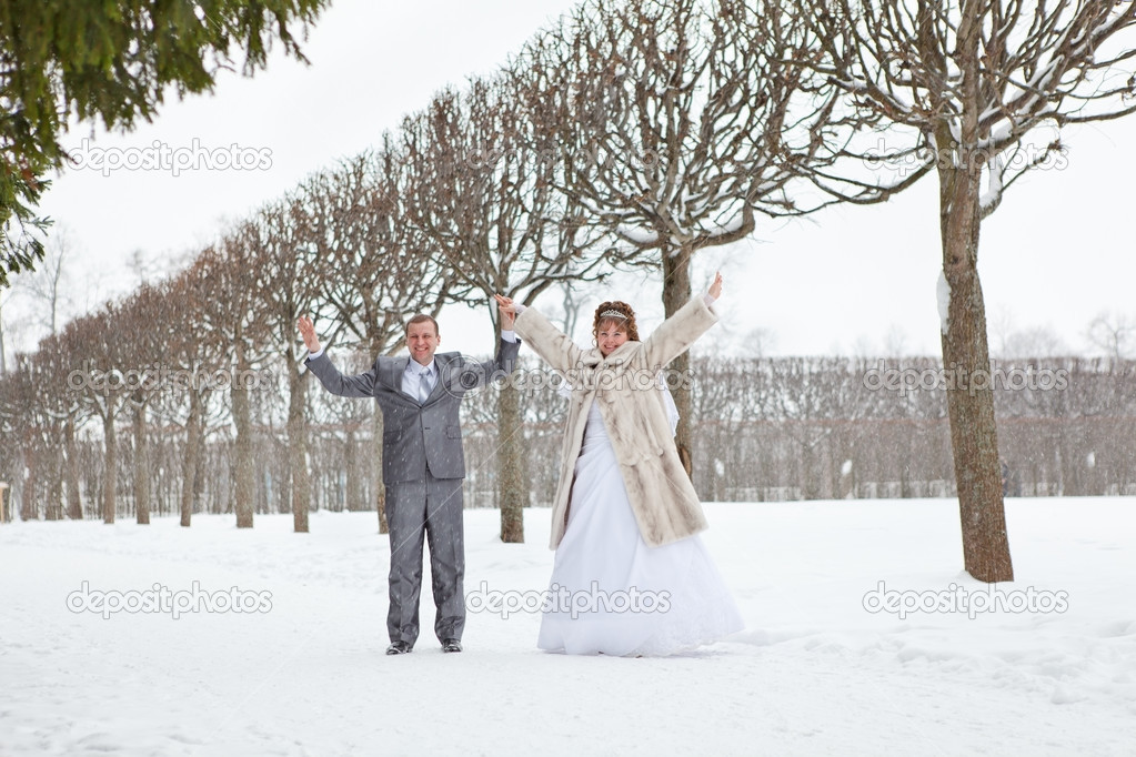 Young Wedding Caucasian Russian Couple Walking On Snowy Park Winter