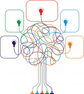 Concept of colorful tree with bulbs