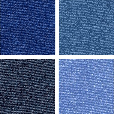 Four different versions of the jeans texture. Vector