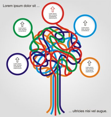 Concept of colorful tree for different business design.