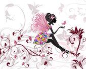 Fotografie Blumenfee mit Schmetterlingen