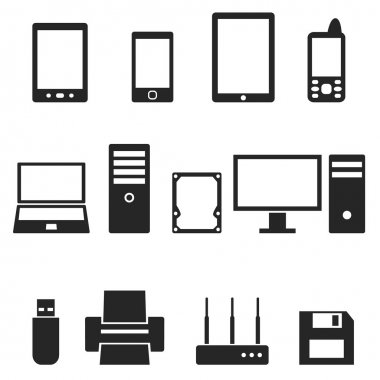 Icons of computer hardware and gadgets in the vector.