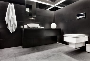 Modern minimalism style bathroom interior in black and white tones