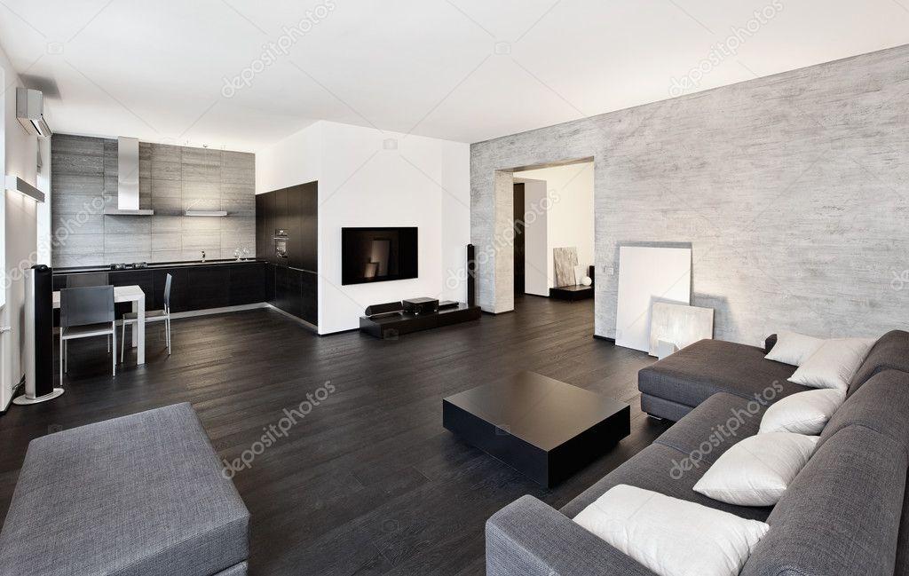 Moderner minimalismus stil wohnzimmer interieur u stockfoto