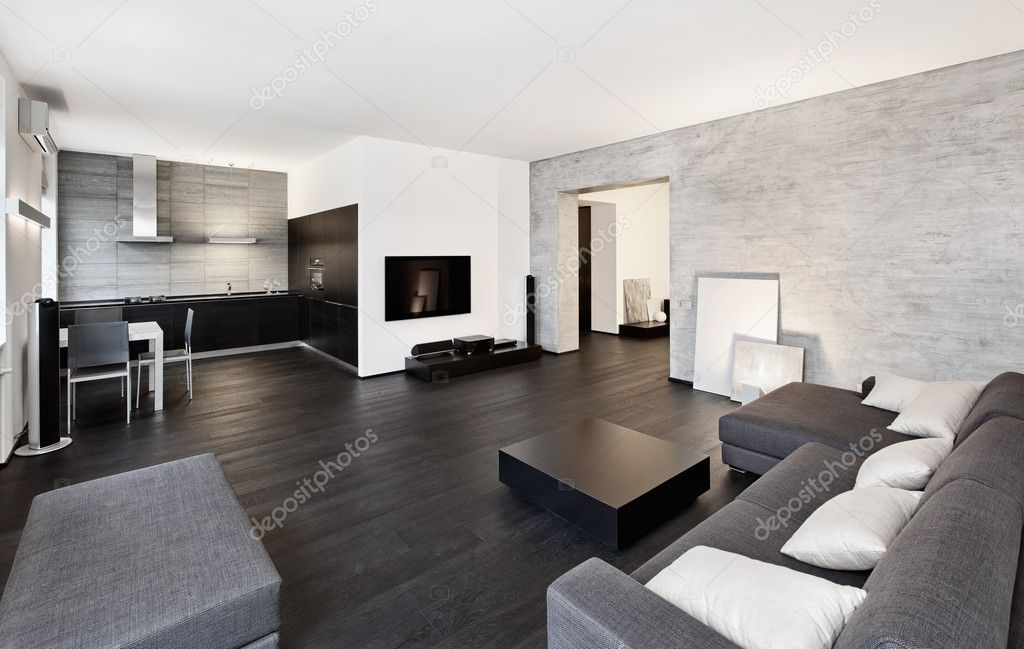 Salon interieur in moderne minimalisme stijl u stockfoto