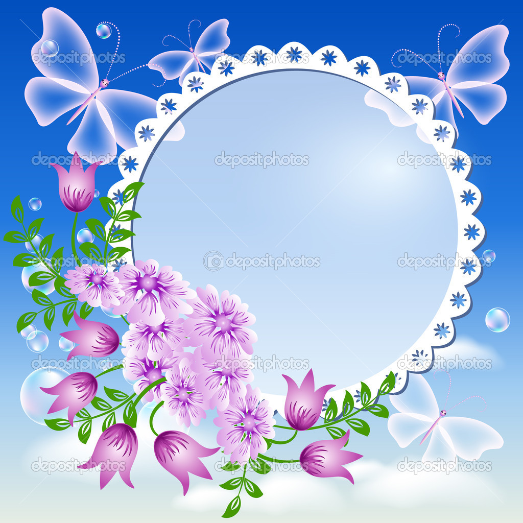Flowers, butterflies in the sky and photo frame