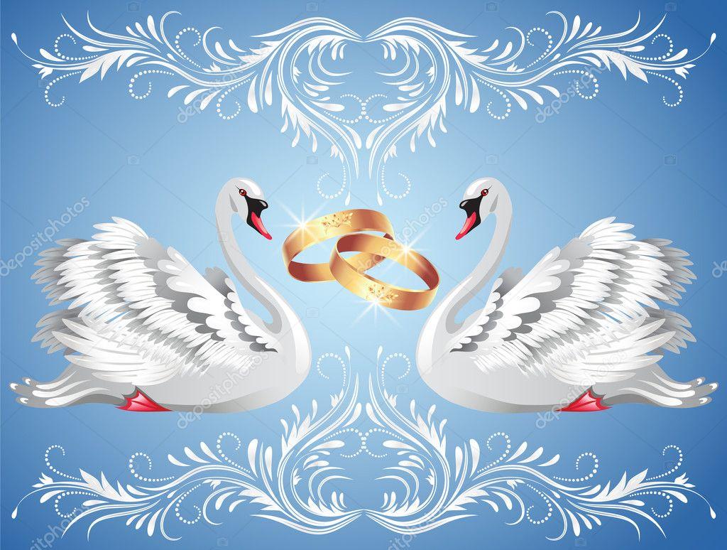 Лебеди для свадебной открытки, для отправки смс