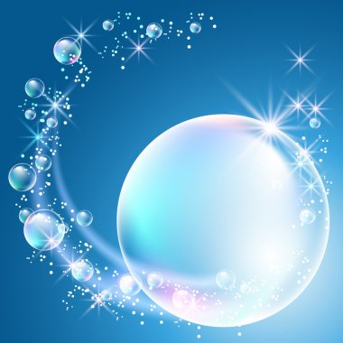 Glowing background with bubbles and stars stock vector