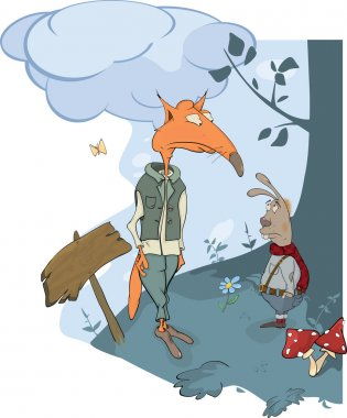 Foxes and a rabbit. A meeting in wood