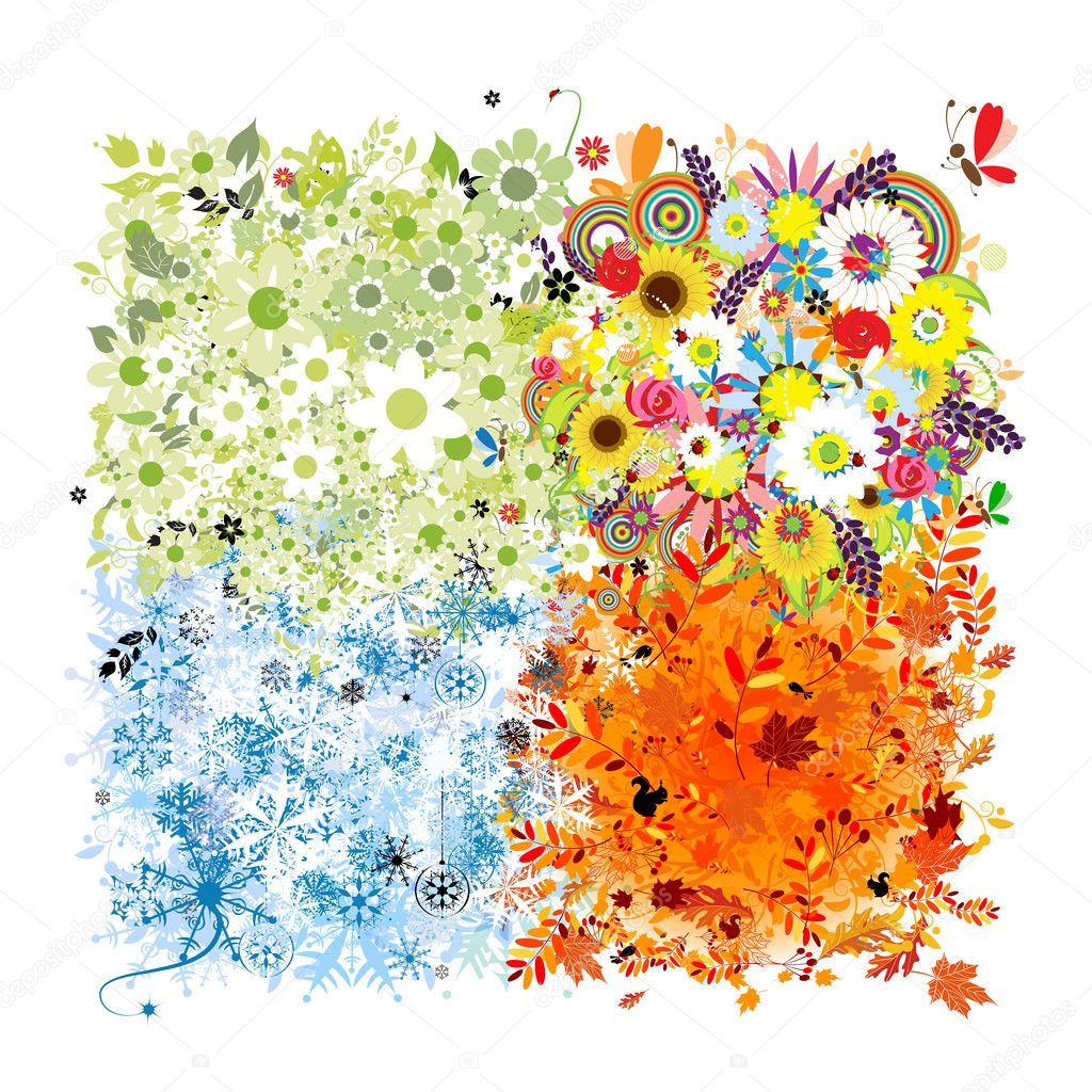 Four seasons frame - spring, summer, autumn, winter.