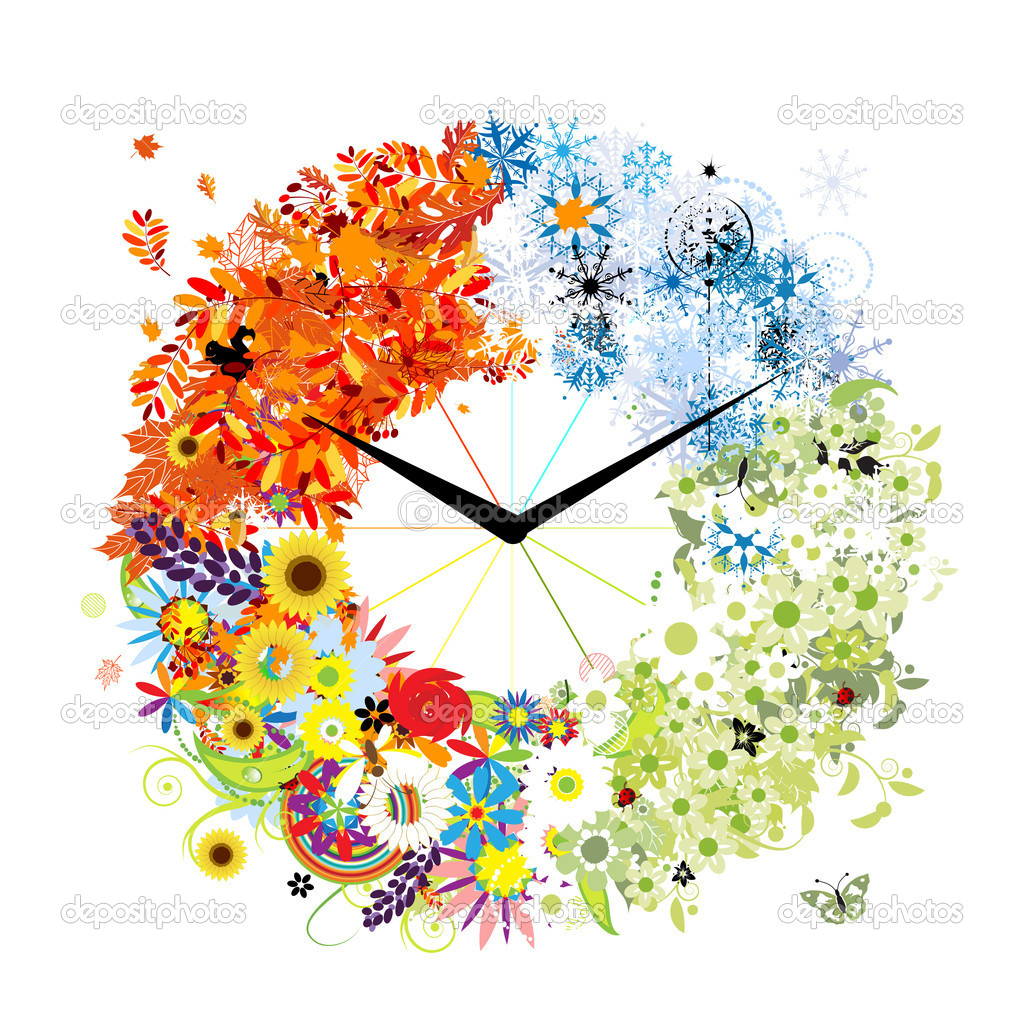 Design of clock. Four seasons, concept.