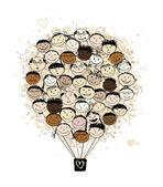 Große Familien-Konzept, Heißluftballon mit lachenden Gesichtern für Ihr design