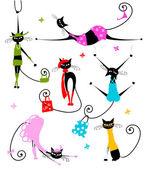 schwarze Katzen in modischen Kleidern für Ihr Design
