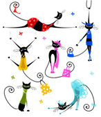 schwarze Katzen in modischer Kleidung für Ihr design