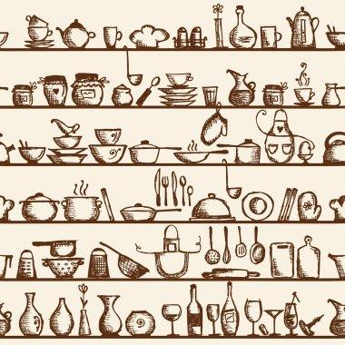 Kitchen utensils on shelves, sketch seamless pattern