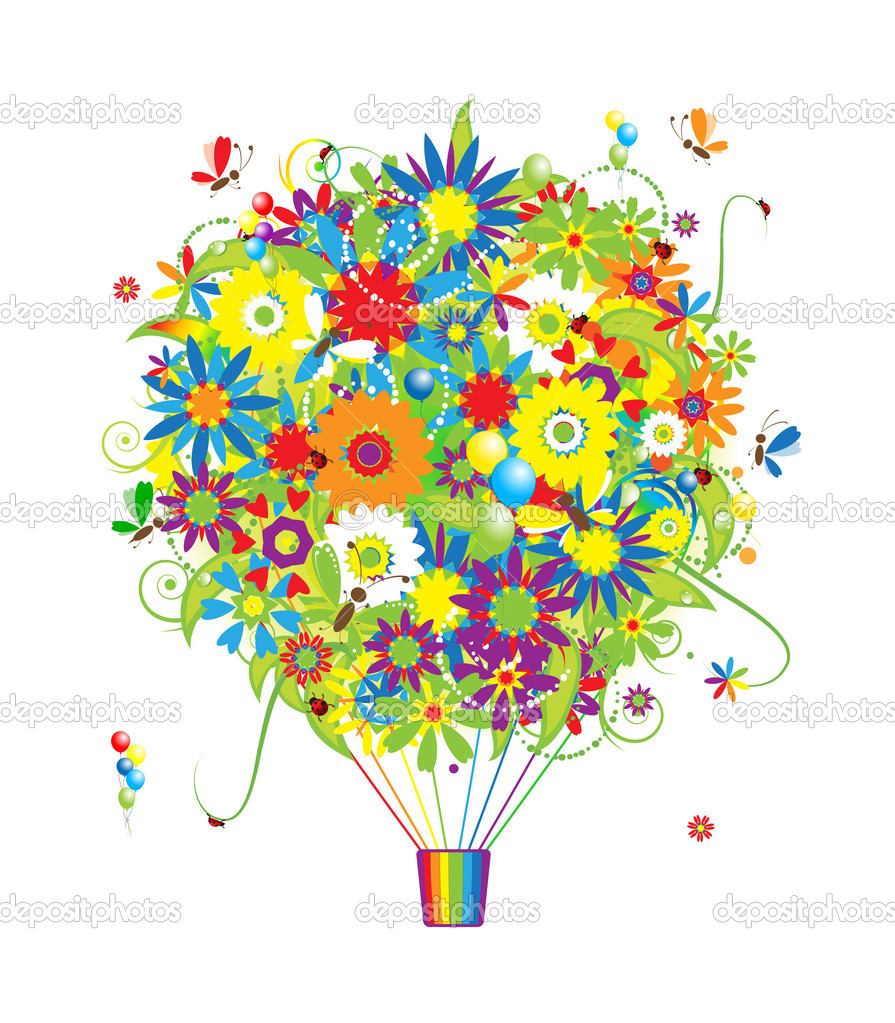 Floral gift, air balloon with flowers for your design