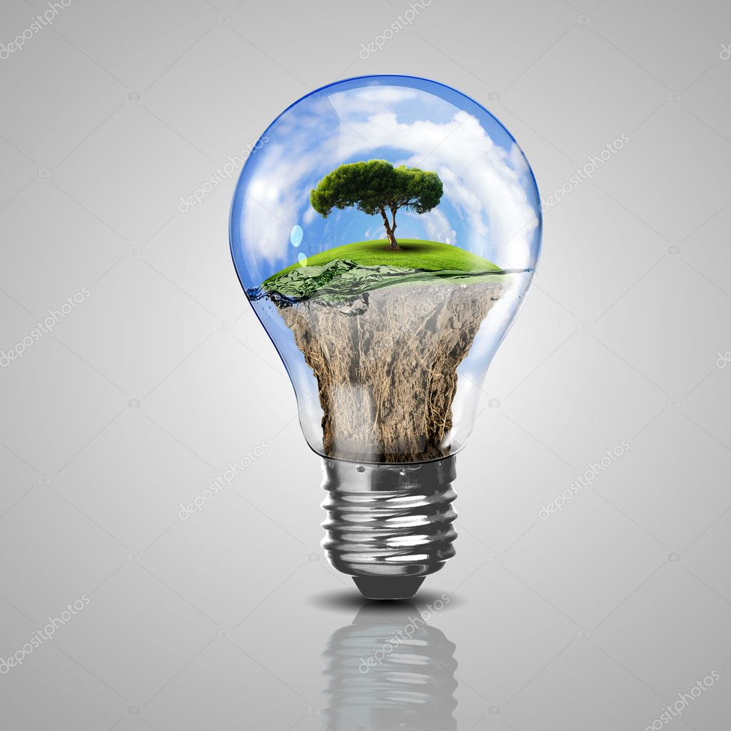 electric light bulb and a plant inside it stock photo sergeynivens 12291052. Black Bedroom Furniture Sets. Home Design Ideas