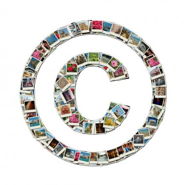 Copyright sign - conceptual illustration,photocollage