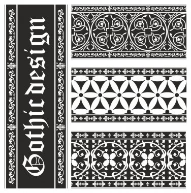 Set of seamless black-and-white gothic floral vector ornaments
