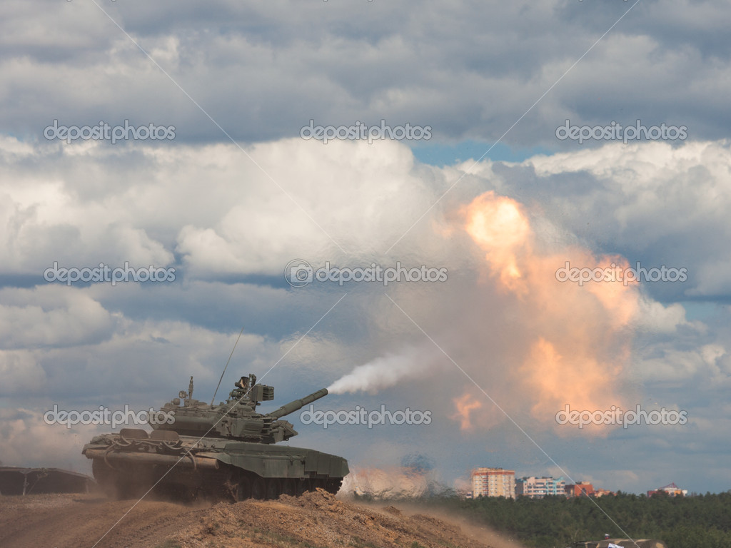 Shoot. Russian main battle tank.