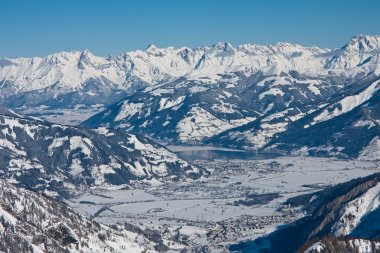 Ski resort and the mountains of Zell am See, Austrian Alps at wi