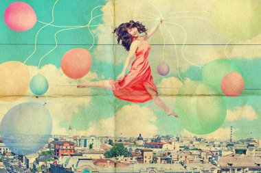 Art collage with beautiful young woman in jump