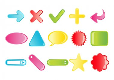 Vector illustration of different simple cartoon icons (arrows, plus, minus, tags, labels). You can use it for your website, application or presentation clip art vector