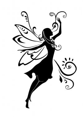 Vector Illustration Silhouette of funky fairy on flower pattern design stock vector