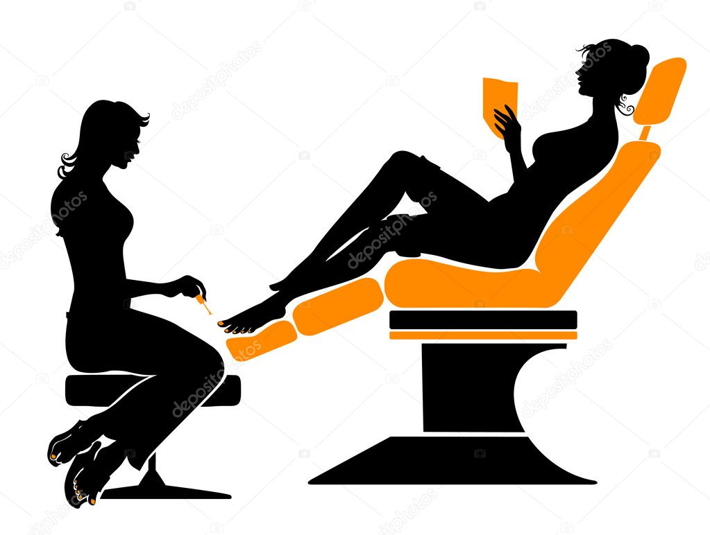 Vector illustration of the beautifull woman silhouette during her spa visiting.