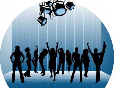 Ten dancing women silhouettes. Music and stage