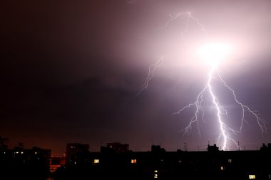 Lightning a thunderstorm, nightly cloudy sky