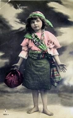 Barefooted girl, antique postcard