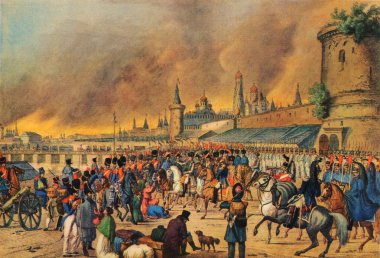 An unknown Austrian artist - Moscow fire in 1812